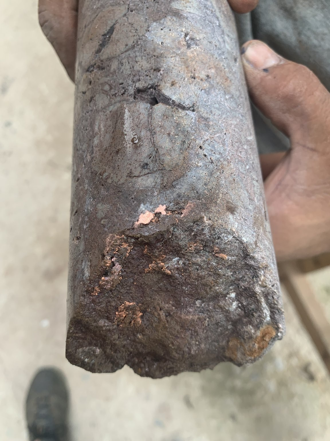 Drill core photos, showing sulphide-matrix breccia from Caribe drill holes 25 and 28 and native copper from drill hole 27. Results awaited